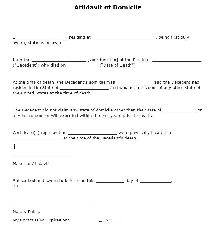 Sample Domestic Partner Affidavit Form