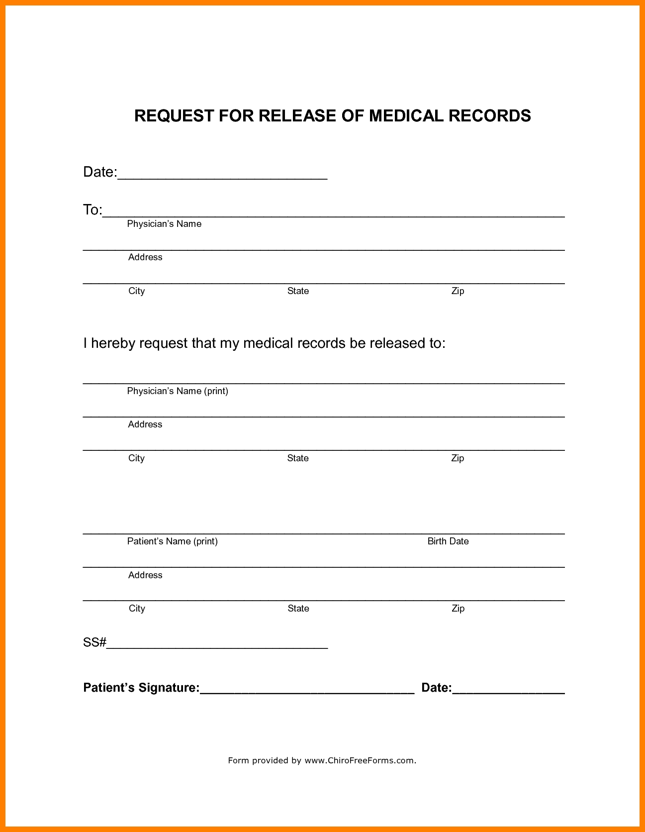 Generic Medical Release Form Fieldstation.co Intended For Medical Records Release Form Template