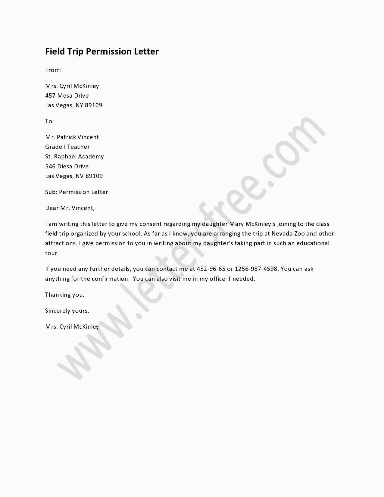 Sample Travel Consent Letter Sample Field Trip Permission Letter Sample Permission Letters Sample