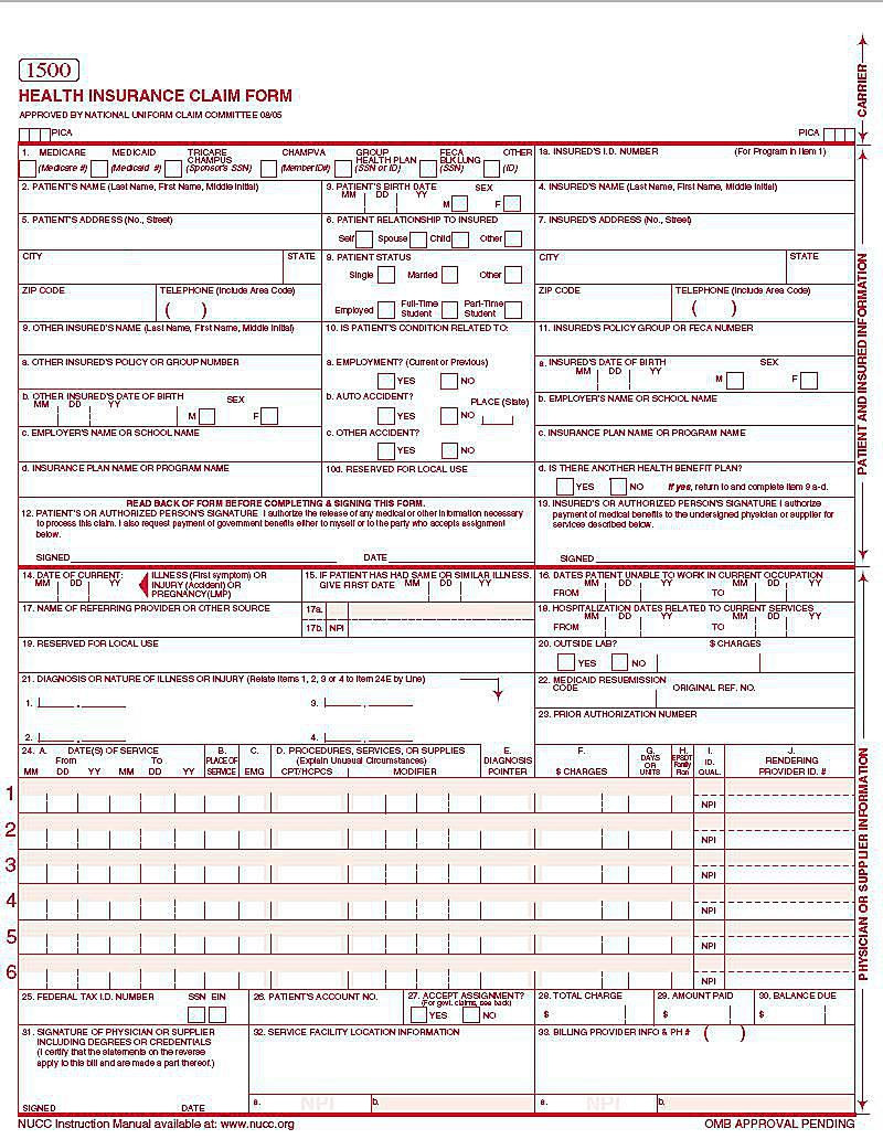 Sample Hcfa 1500 Claim Form Instructions New Cms 1500 Claim Form Versions And Tips