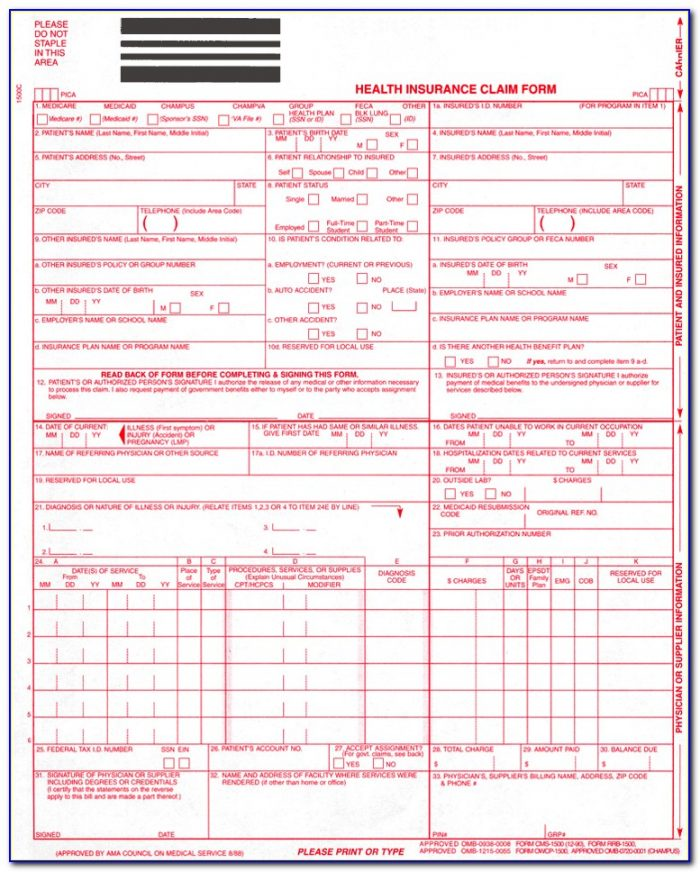 Sample Of New Hcfa 1500 Claim Form