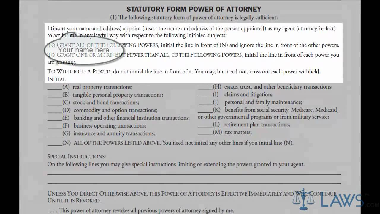 Sample Power Of Attorney Form Filled Out