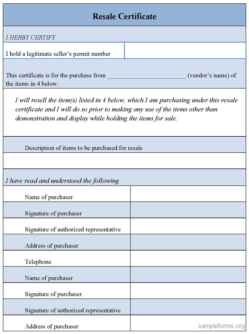 Sample Resale Form