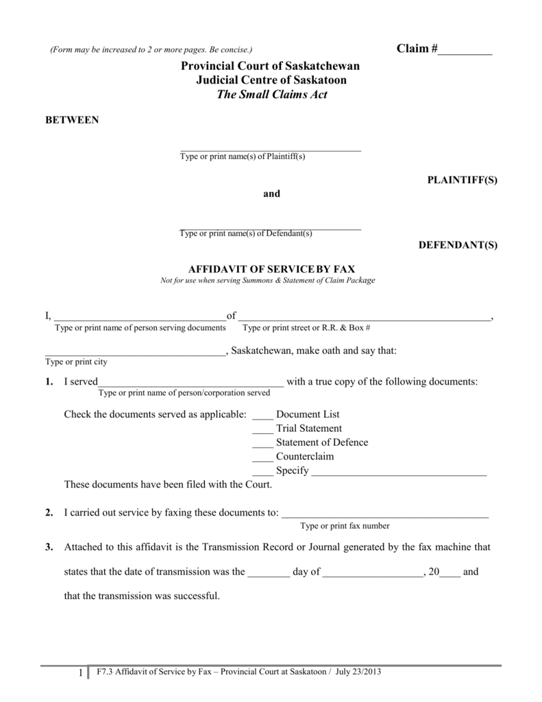 Small Claims Forms Affidavit Of Service
