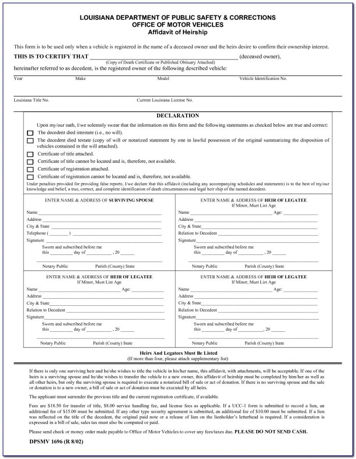 Small Estate Affidavit Form Dallas County Texas