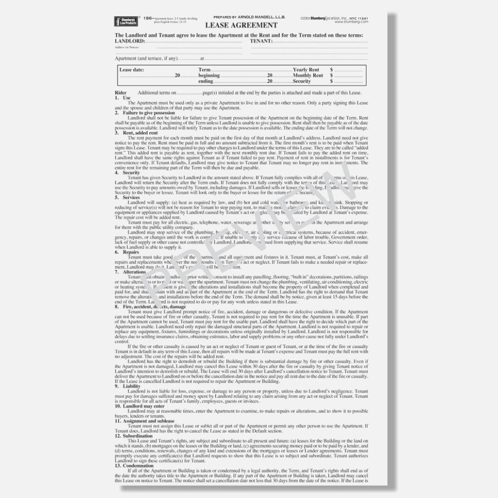 Standard Lease Agreement Form Ny