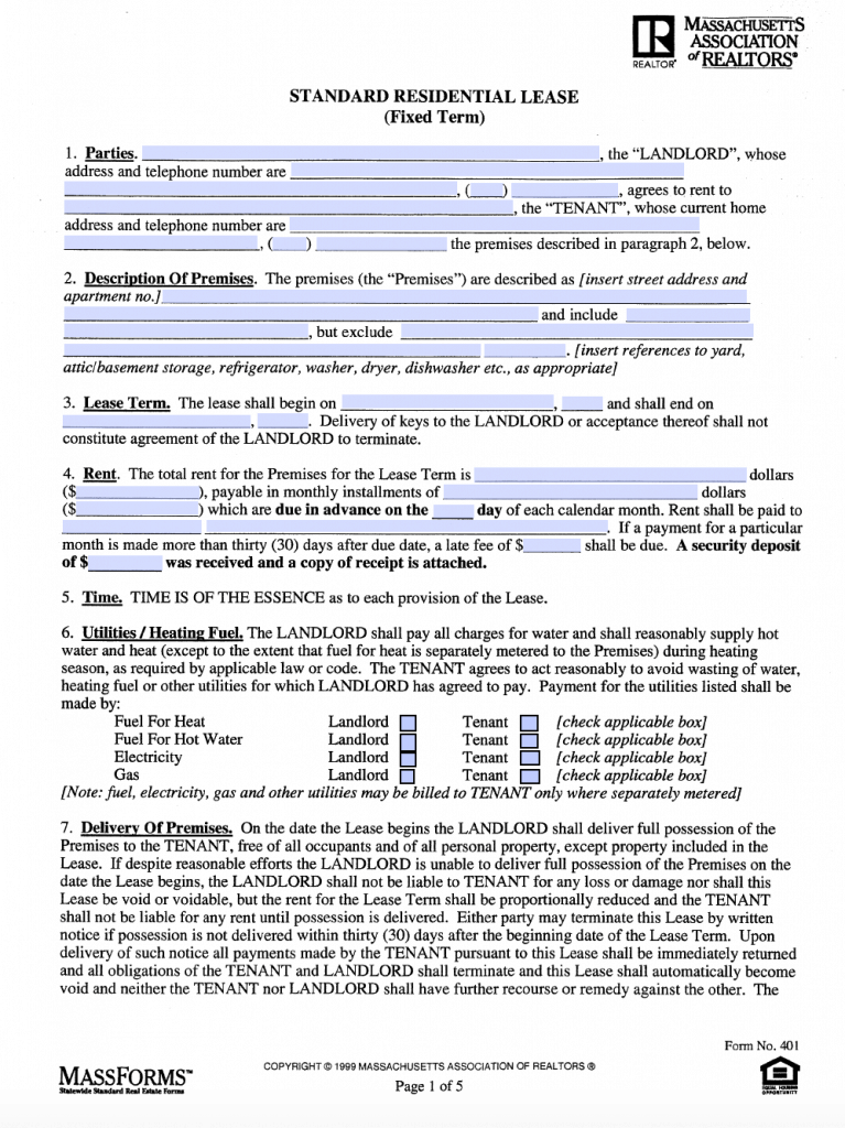 Standard Lease Agreement Form Pdf