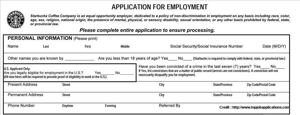 Starbucks Employment Application Form