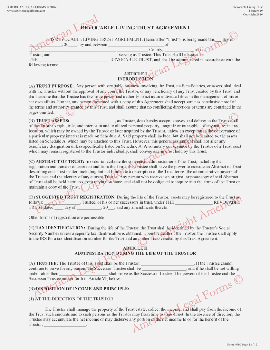 State Of Texas Living Trust Forms