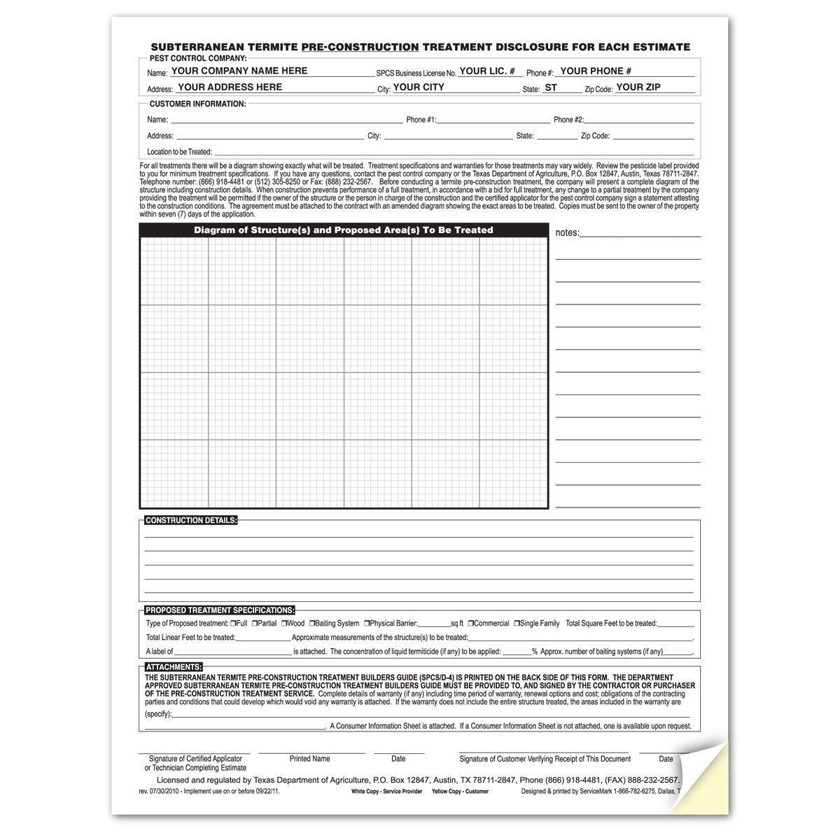 Termite Inspection Report Form Npma 33