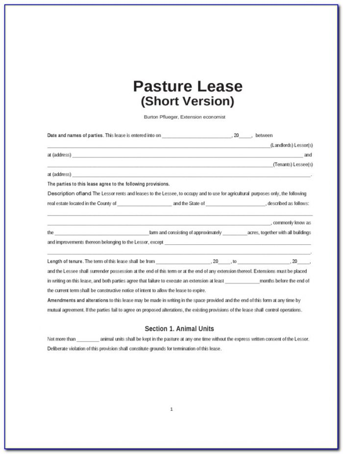 Texas Pasture Lease Agreement Form