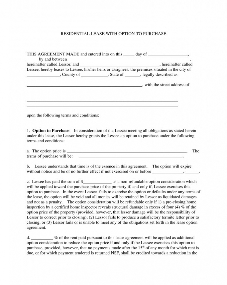 Texas Standard Residential Lease Agreement Form Word