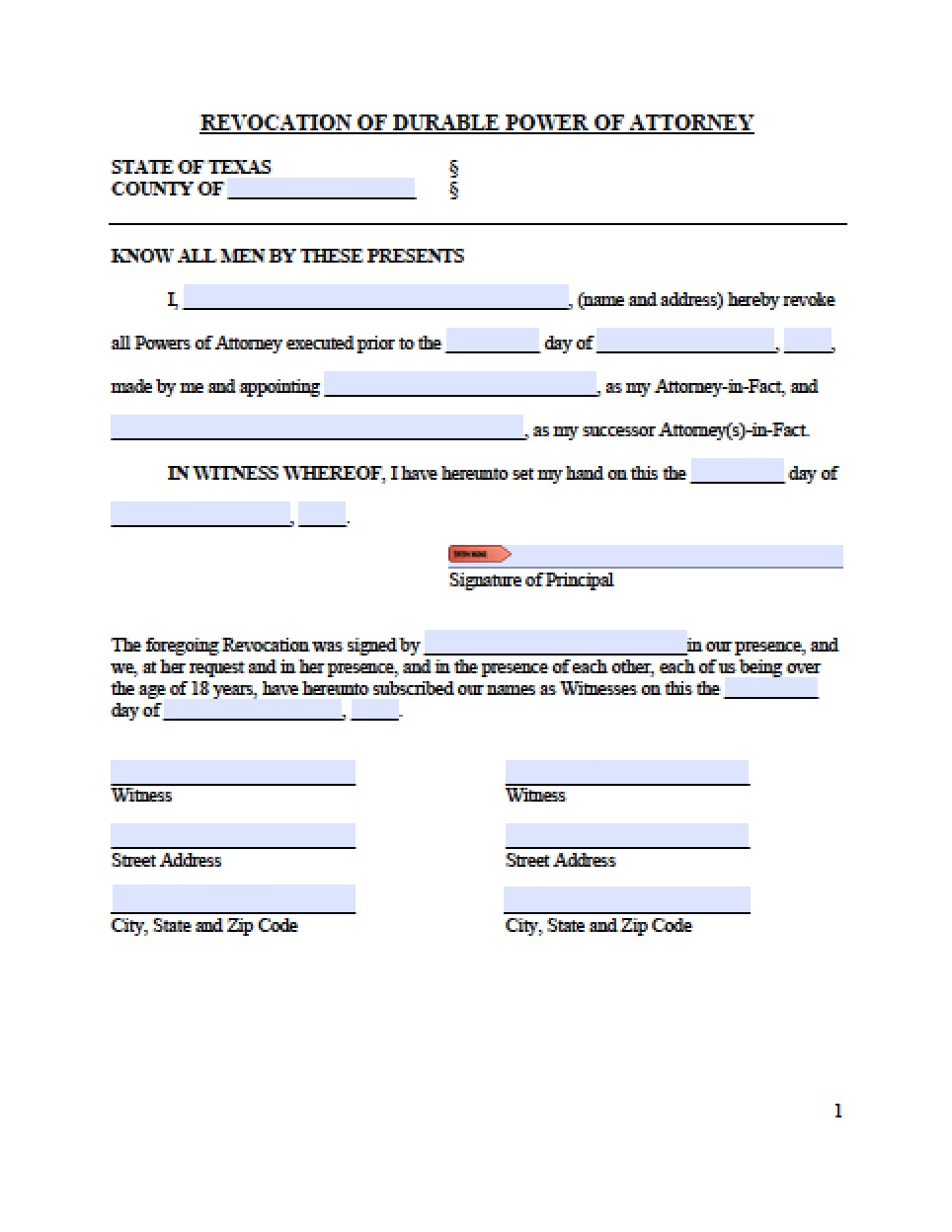 Texas Statutory Durable Power Of Attorney Form From The Texas State Legislature