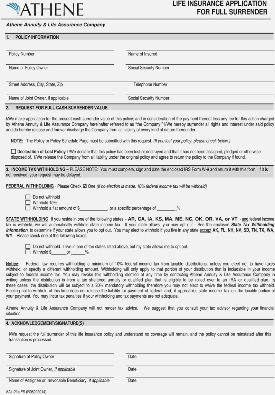 Transamerica Life Insurance Application Form