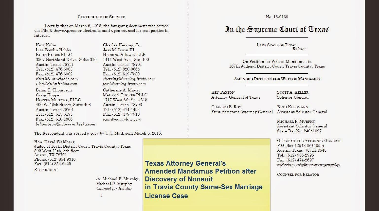 Travis County Divorce Filing
