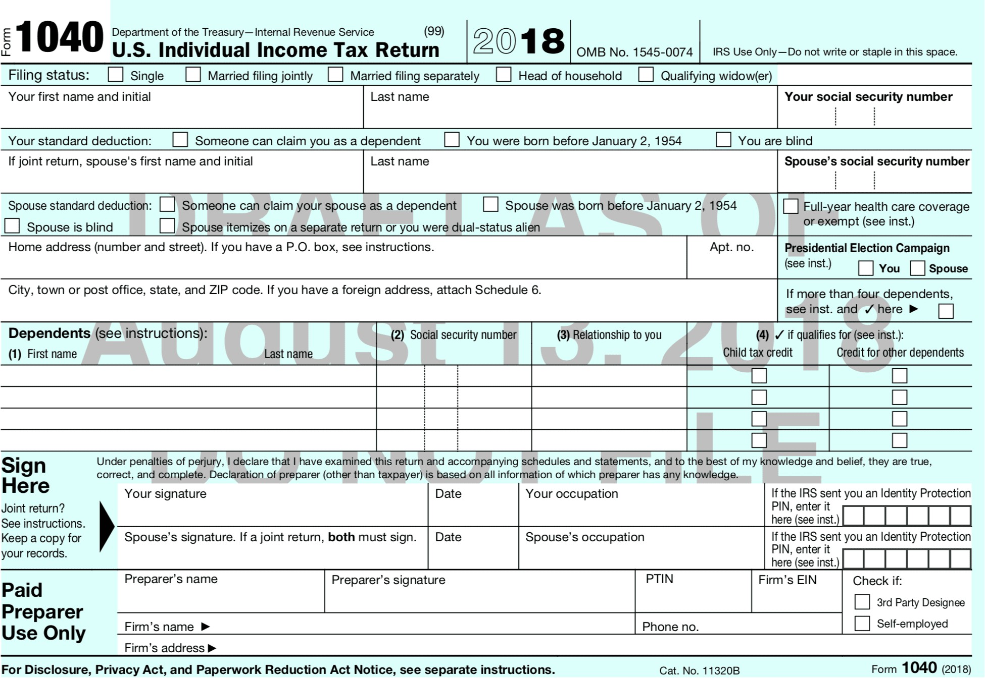 Us Individual Income Tax Return Sample Valid The New 2018 Form 1040