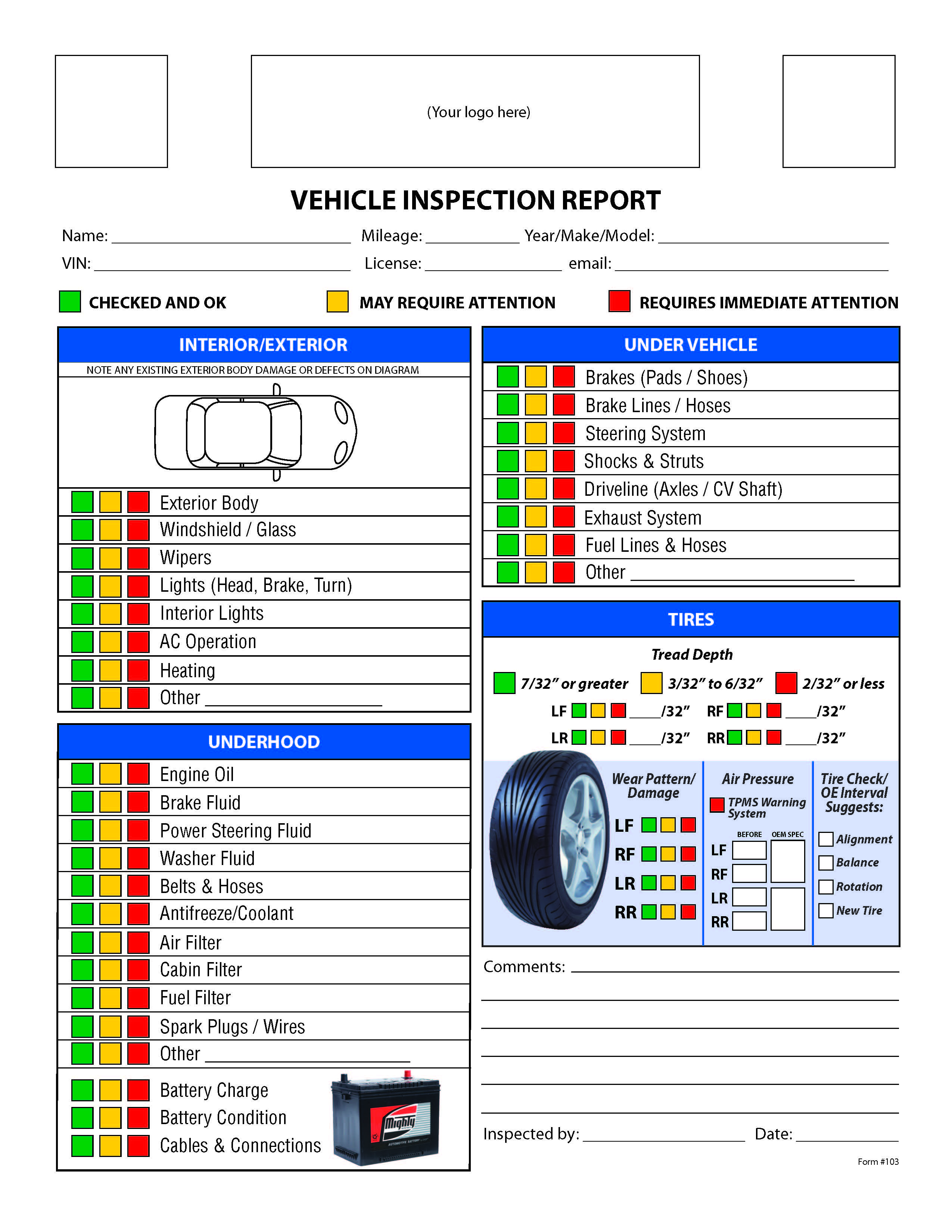 Vehicle Safety Inspection Checklist Form