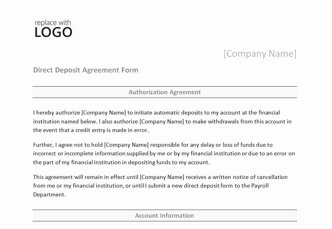 Direct Deposit Authorization Form Template Best Of Direct Deposit Form Template Simple Accordingly ? Muboofo
