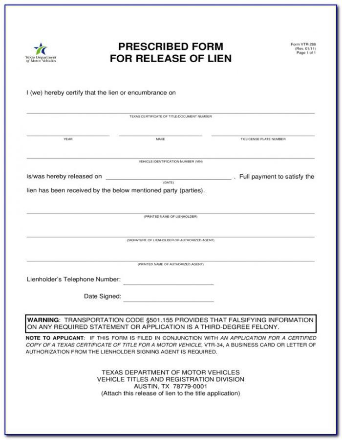 Vendor Lien Release Form Texas