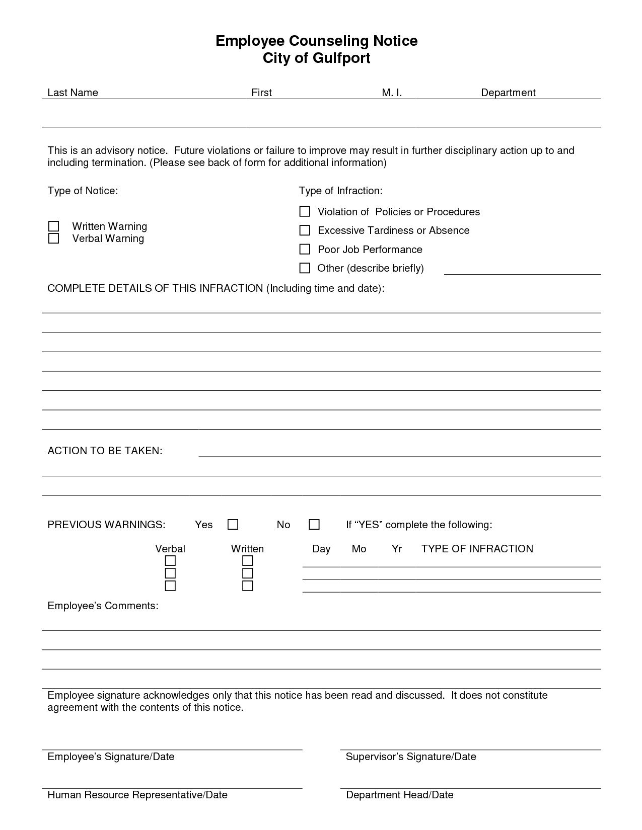 Verbal Counseling Form Template