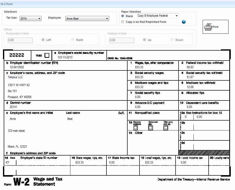Printable W2 Form For Employees Of New Easy To Use Accounting Software For Small Businesses