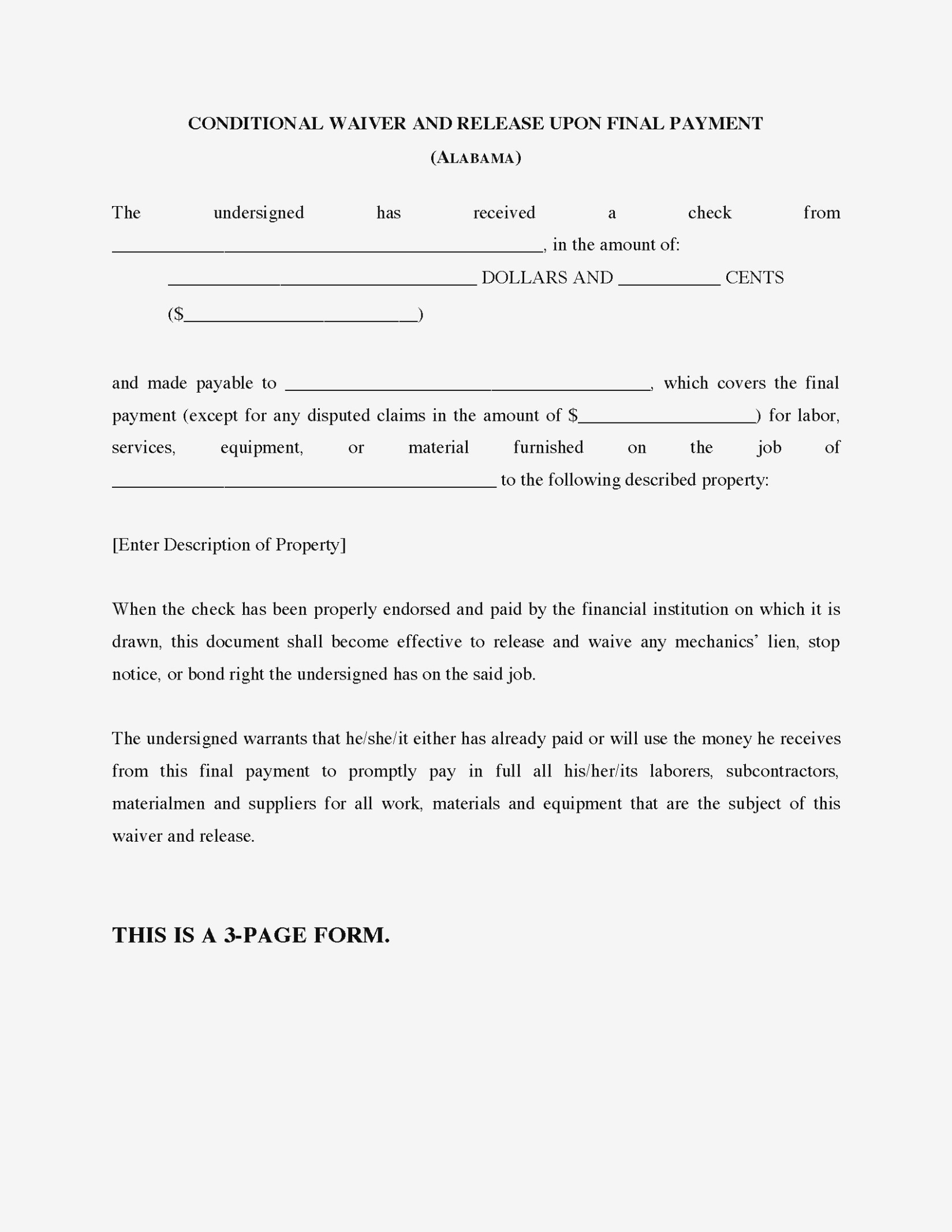 Waiver And Release Of Lien Upon Final Payment Form