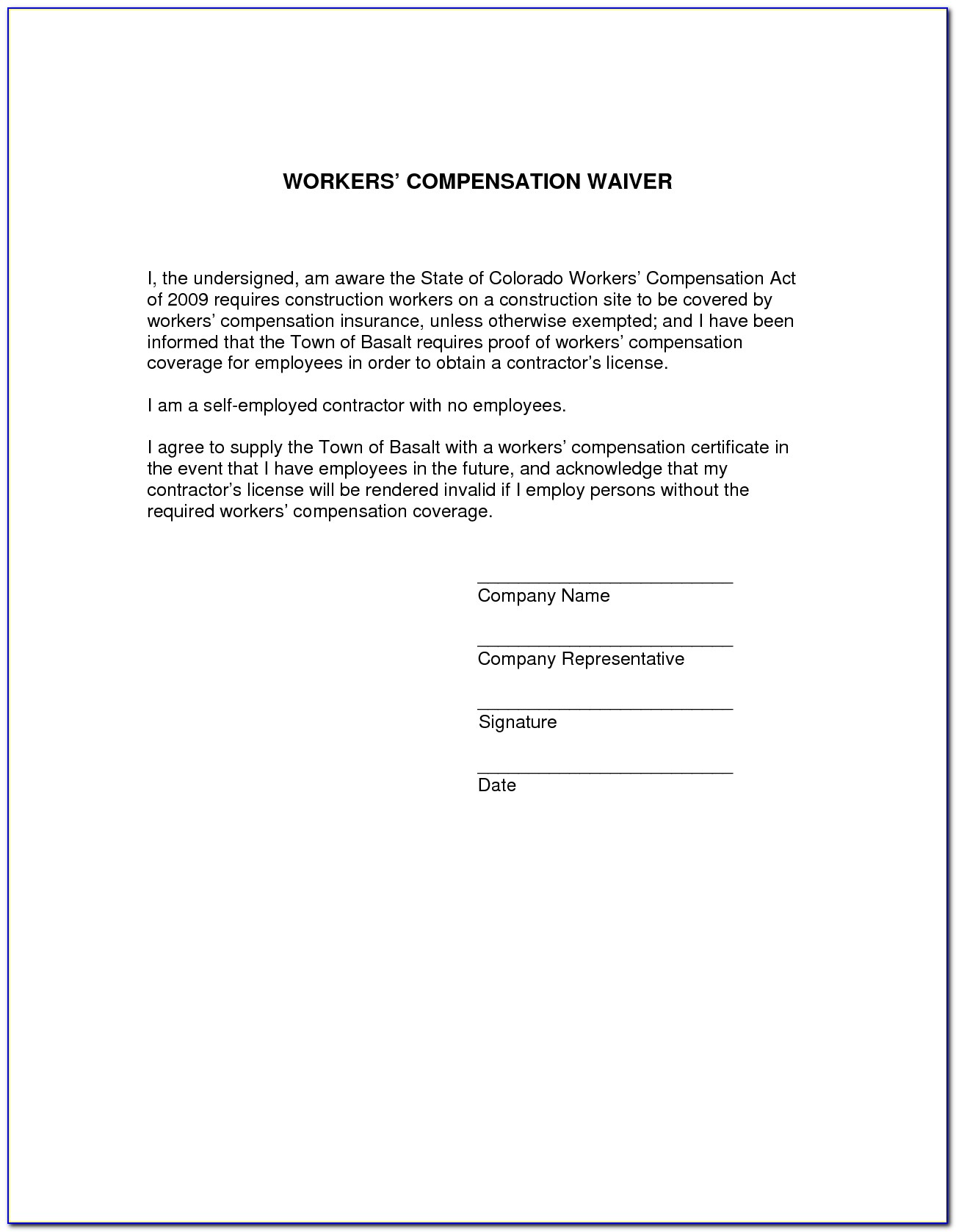 Waiver Of Subrogation Form For Workers Comp   Universal ...