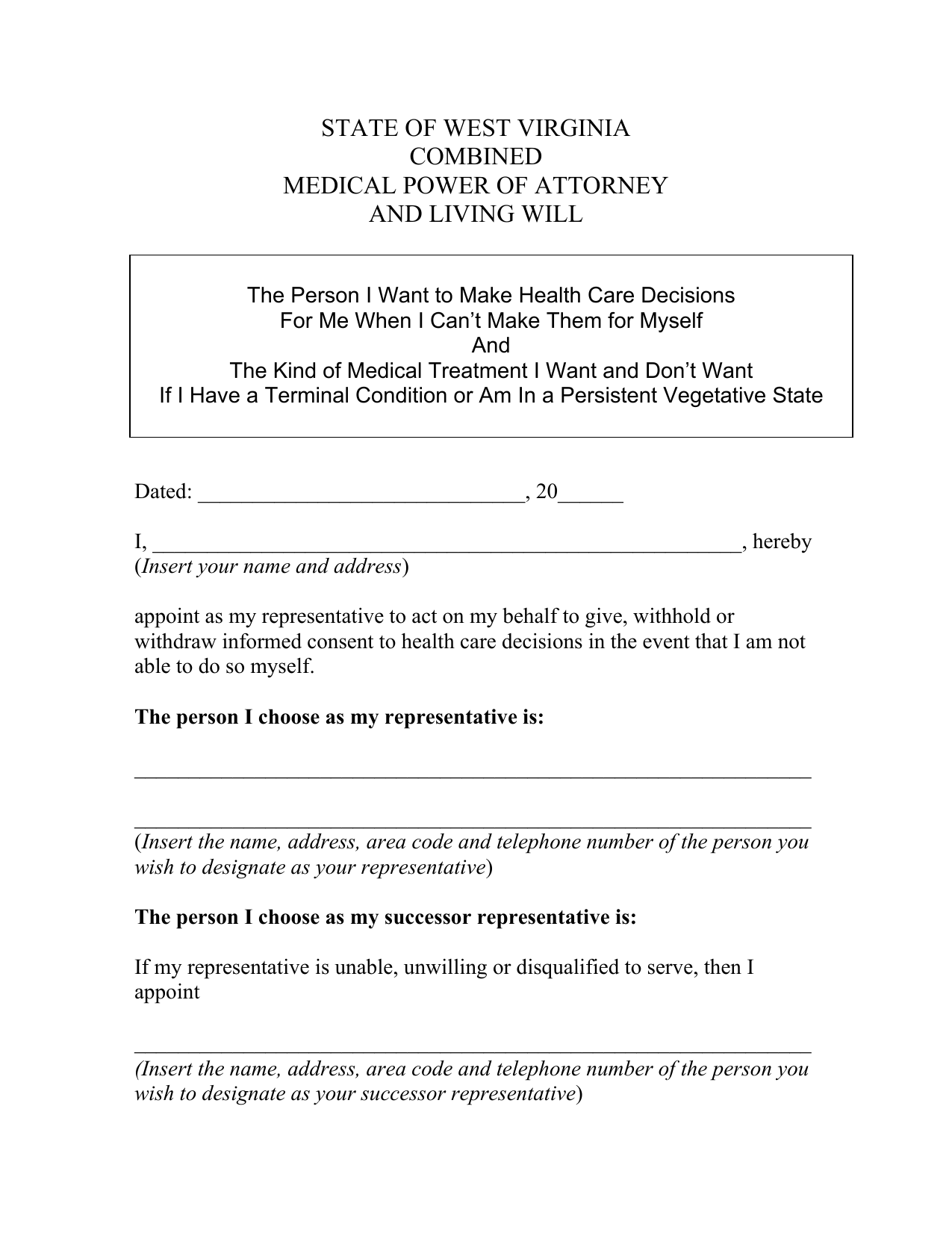 West Virginia Combined Living Will And Medical Power Of Attorney Form