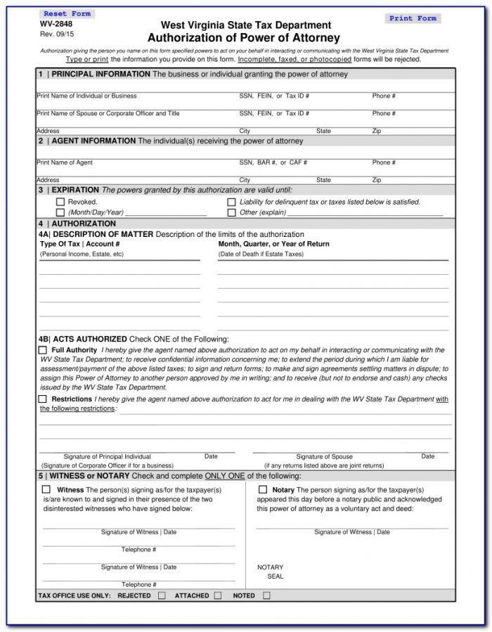 West Virginia State Tax Department Power Of Attorney Form
