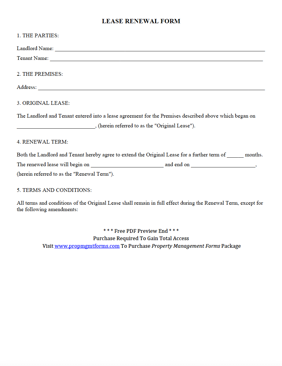 Wisconsin Residential Lease Renewal Form